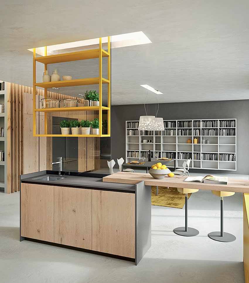 Stylish shelves add to the appeal of the sensational kitchen