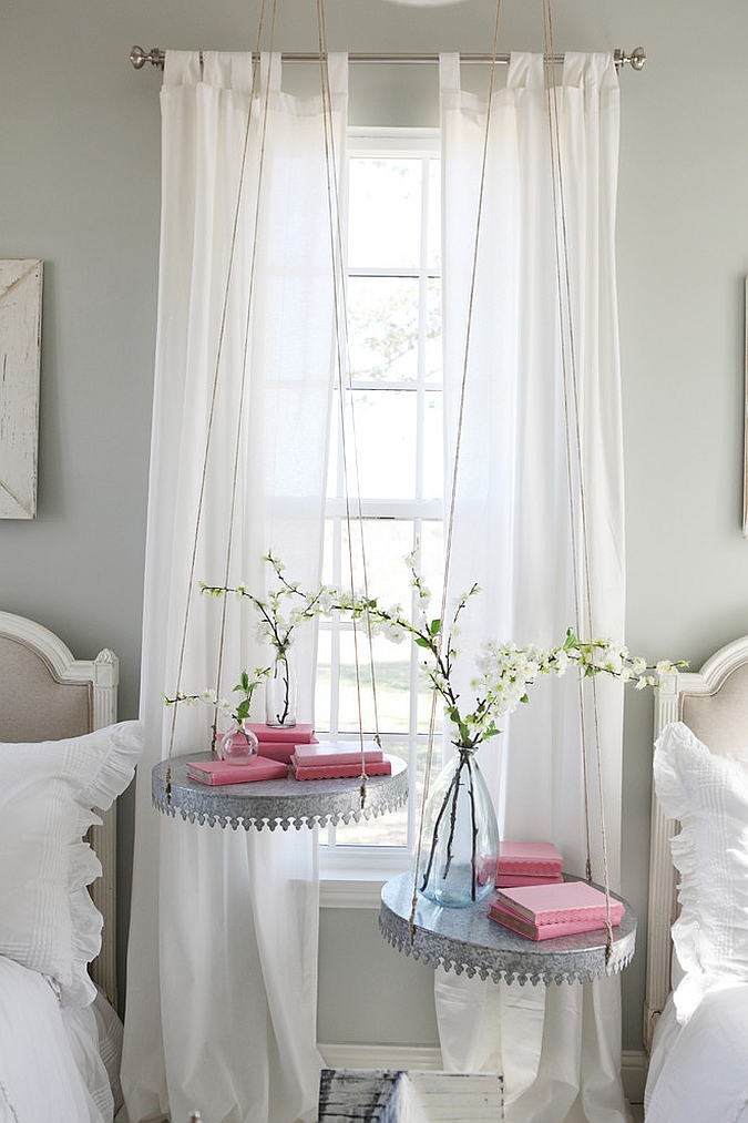 Suspended nightstands save up on precious space [From: Molly Winn Photography]