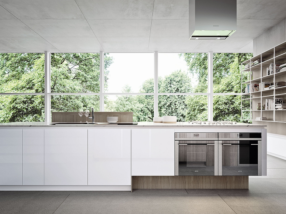 Suspended style of the compositions gives the kitchen visual lightness