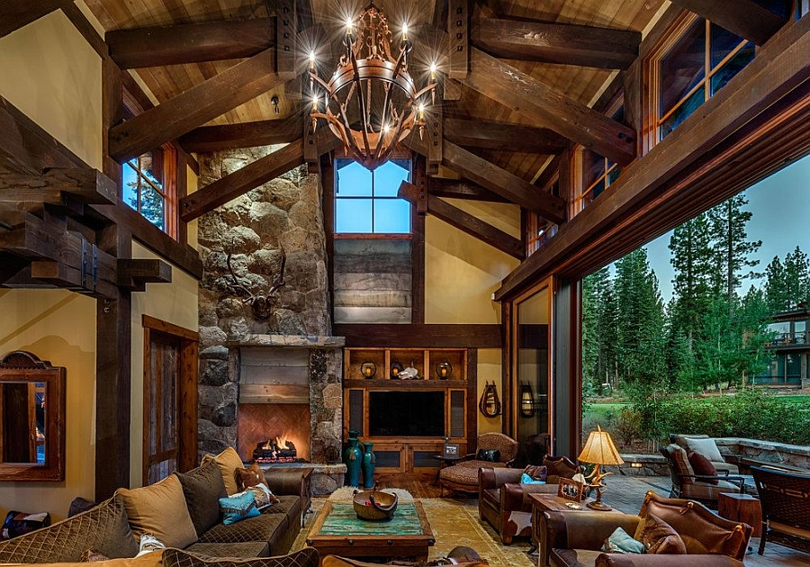 Stunning cabin retreat brings rustic texan charm to lake tahoe Mountain home interiors