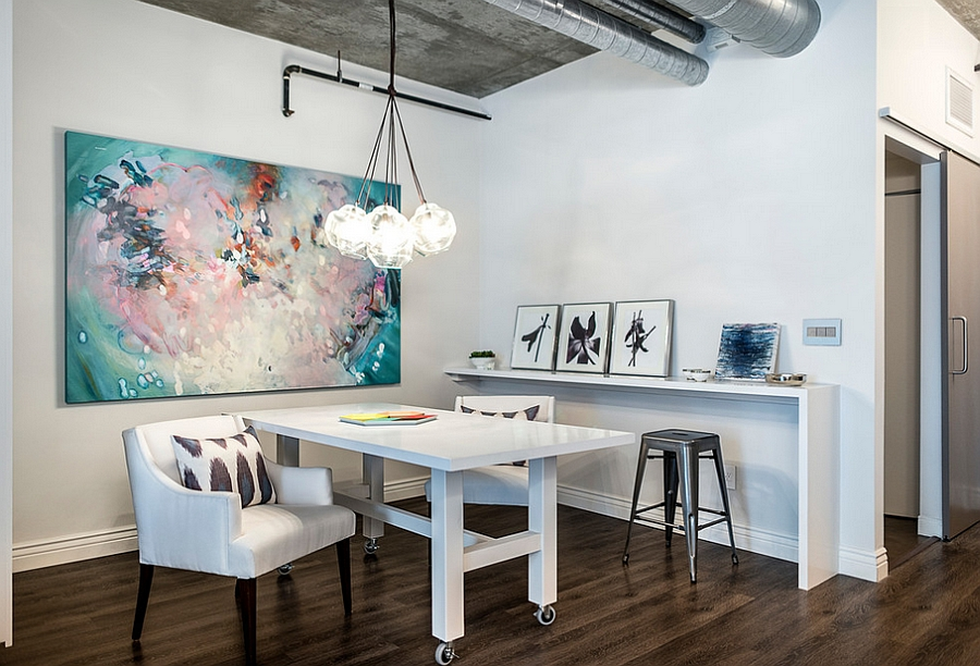 Table on wheels makes for an interesting addition in the home office [From: Four Point Design]