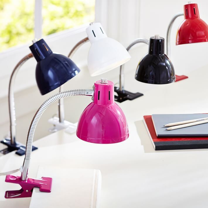Task clip lamps in bright colors