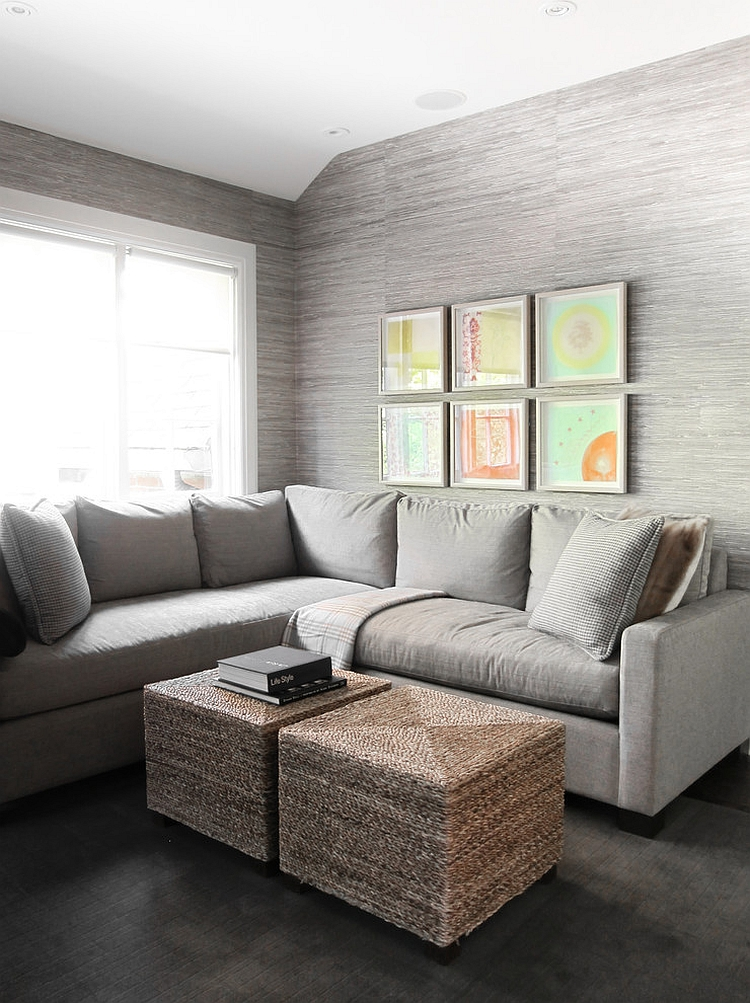 Textured grasscloth gives the transitional room a serene ambiance