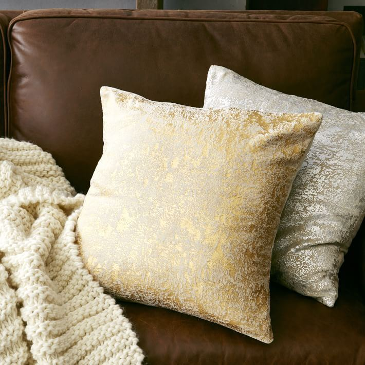 Textured metallic pillows