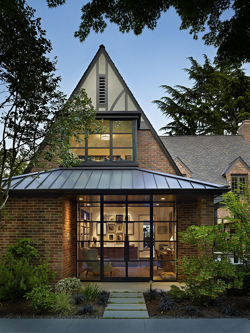 Timeless tudor architecture defines the exterior of the house