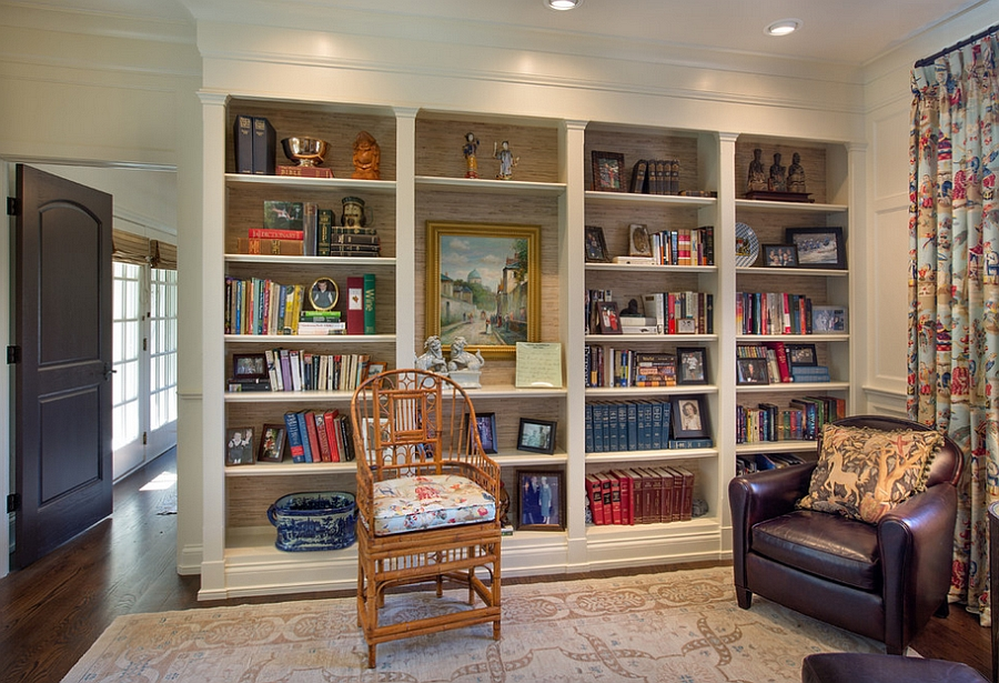 Trendy use of grasscloth in bookshelves [Design: Westwood Cabinetry and Millwork]