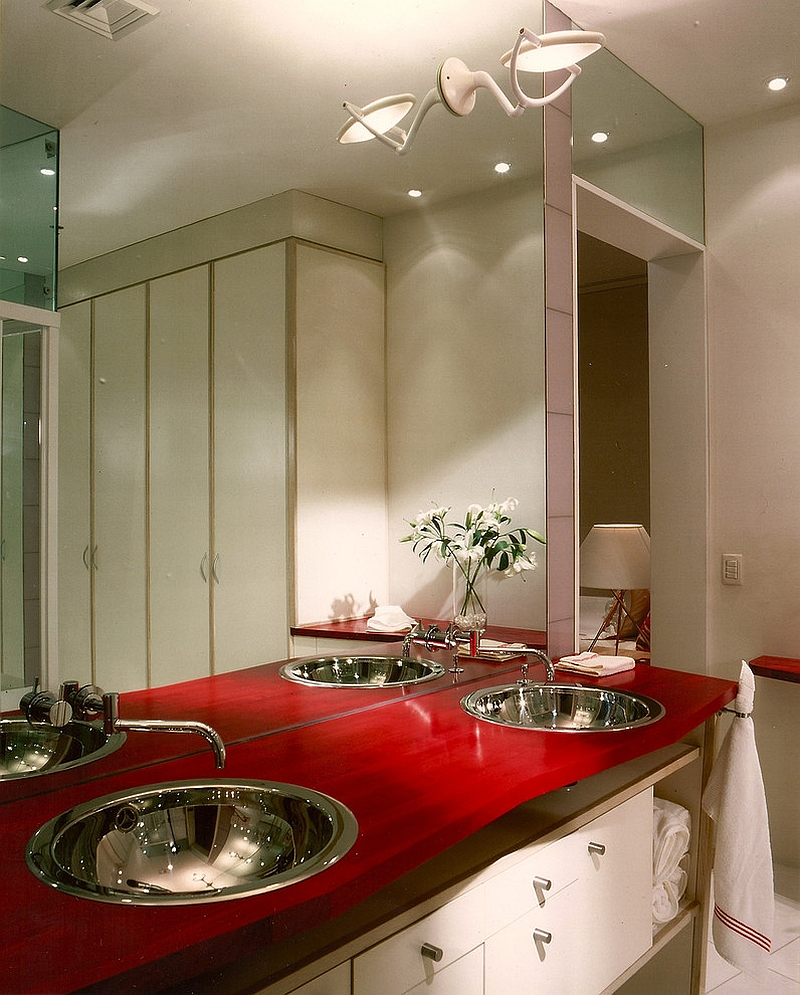 Twin basin countertop in ravishing red [Design: Jerry Jacobs Design]