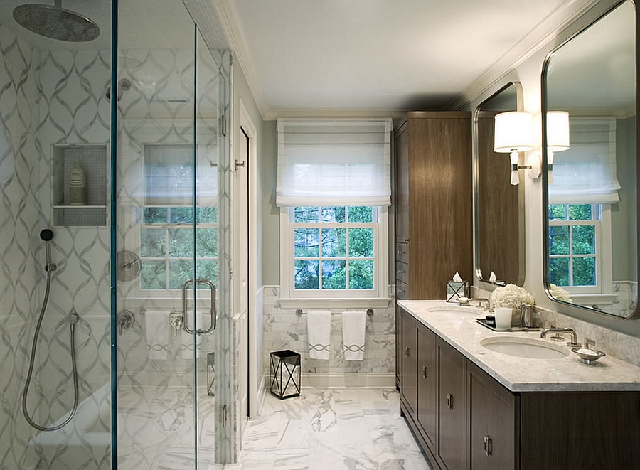 Two tiny master bathrooms transformed into one luxurious bath
