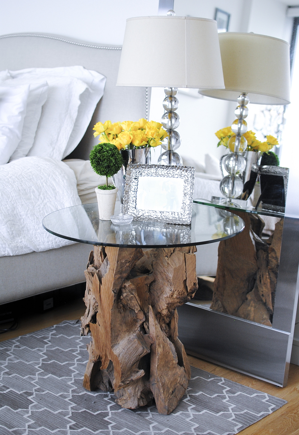 Unique bedside table idea in natural wood
