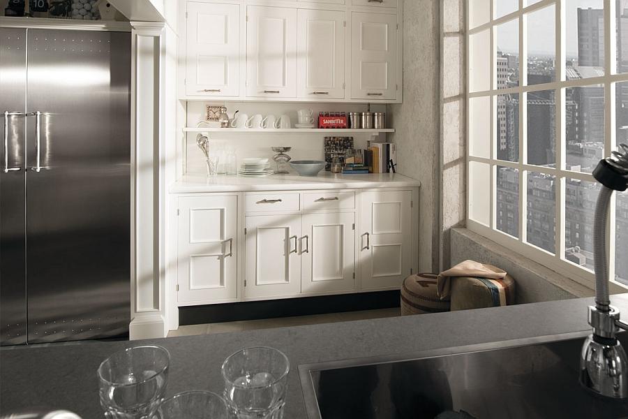 Unique chrome plated handles of the Montserrat Kitchen