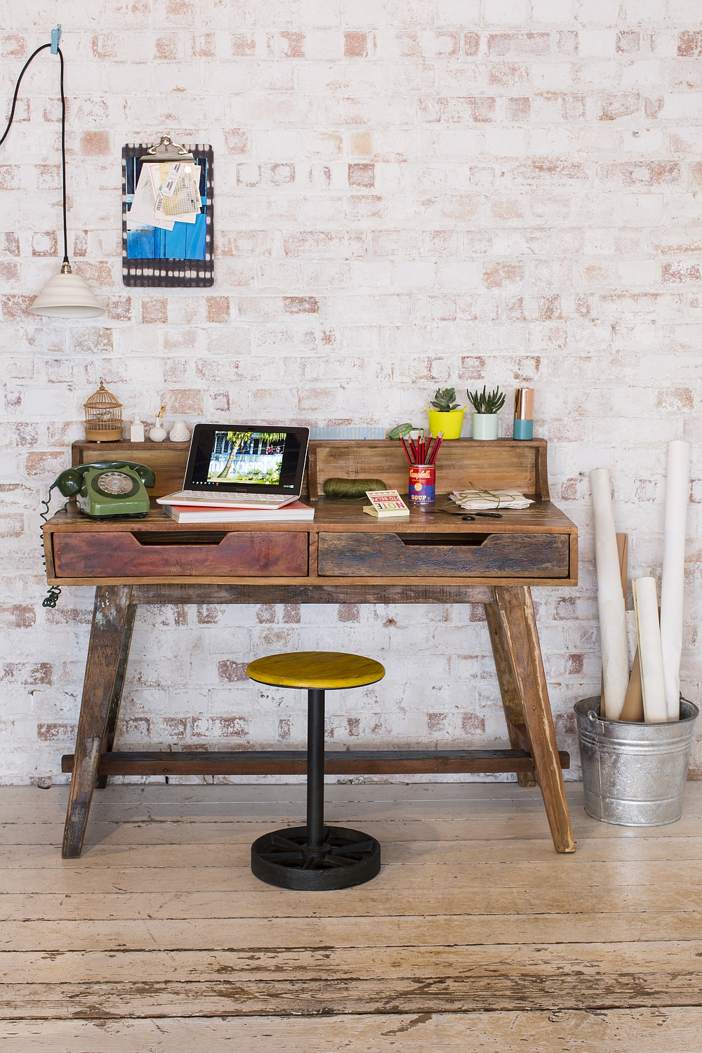 Unique reclaimed wood desk with vintage style