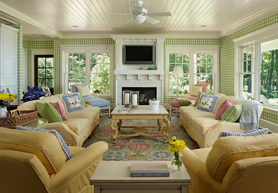 Use wallpaper to usher in some green [Design: Cottage Company Interiors]