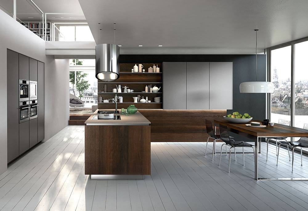 Versatile WAY Kitchen composition in metallized lead grey and smoked oak