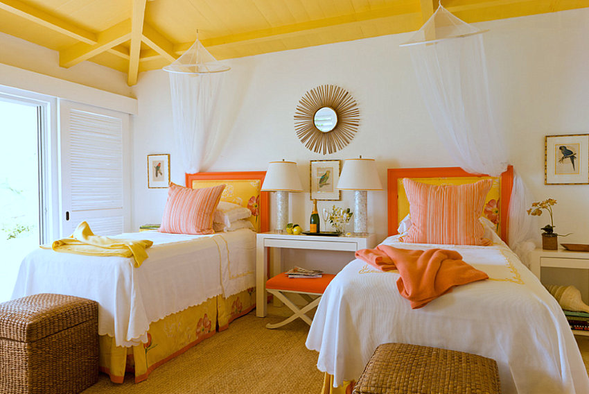 Vibrant colors in a Caribbean-style bedroom
