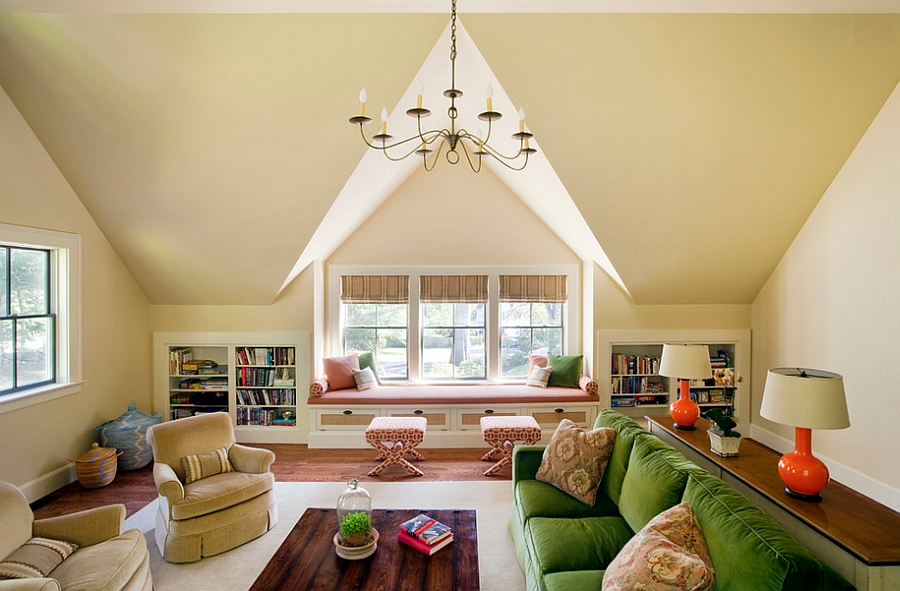 Visual symmetry does the trick in this attic living room