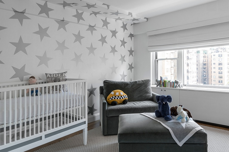 Wallpaper with stars adds pattern in an understated fashion [Design: Prime Renovations]