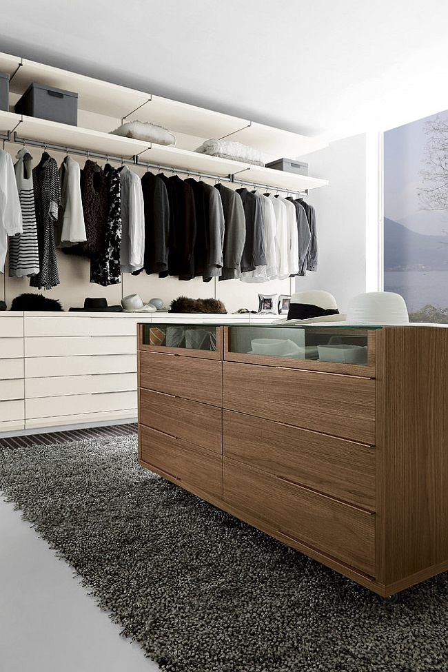 Walnut island unit for the modern walk-in wardrobe