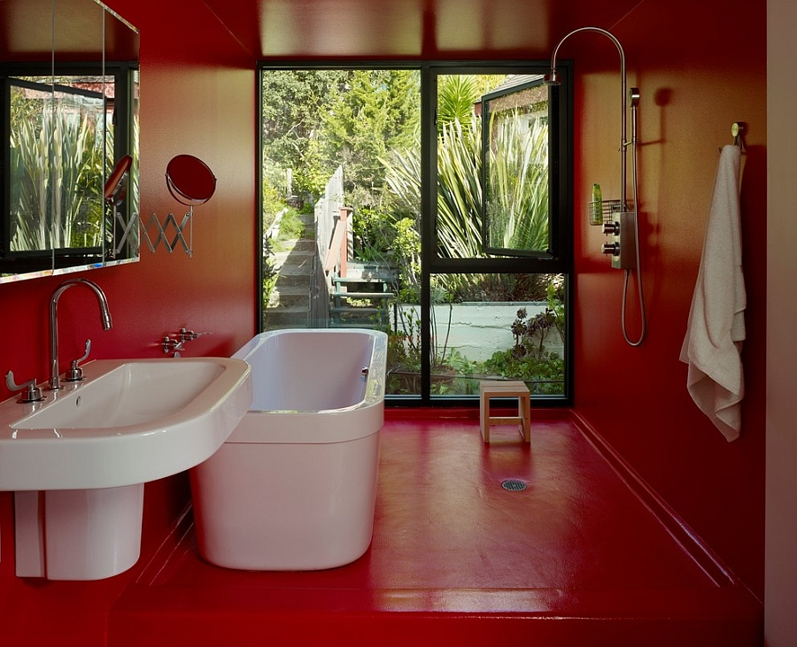 Waterproof-epoxy paint in red for the cool modern bath [Design: AAAarch]