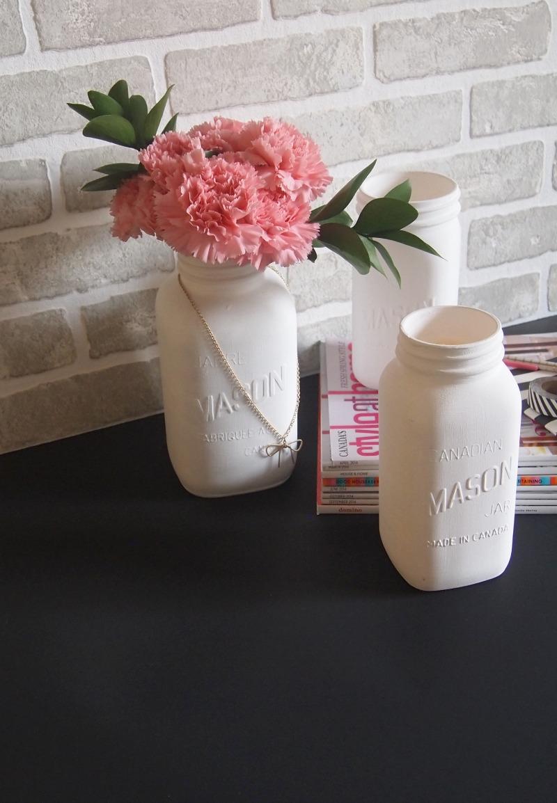 White mason jar vases