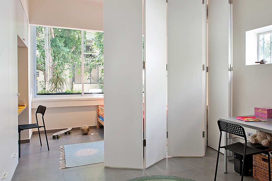 White partition helps give the kids necessary privacy