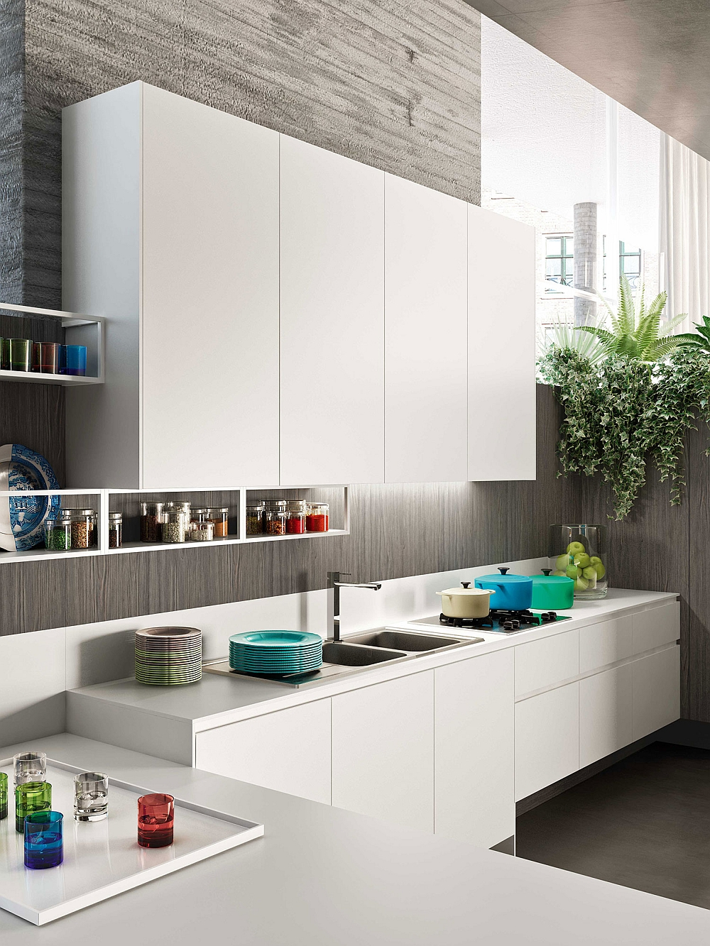 White wall-mounted cabinets make use of vertical space in the kitchen