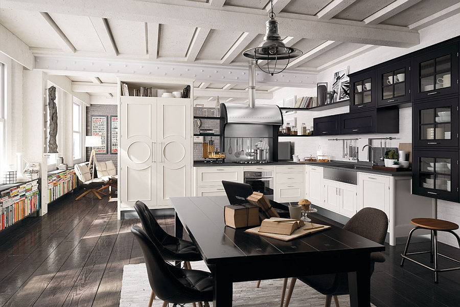 Wonderful use of black and white in the kitchen