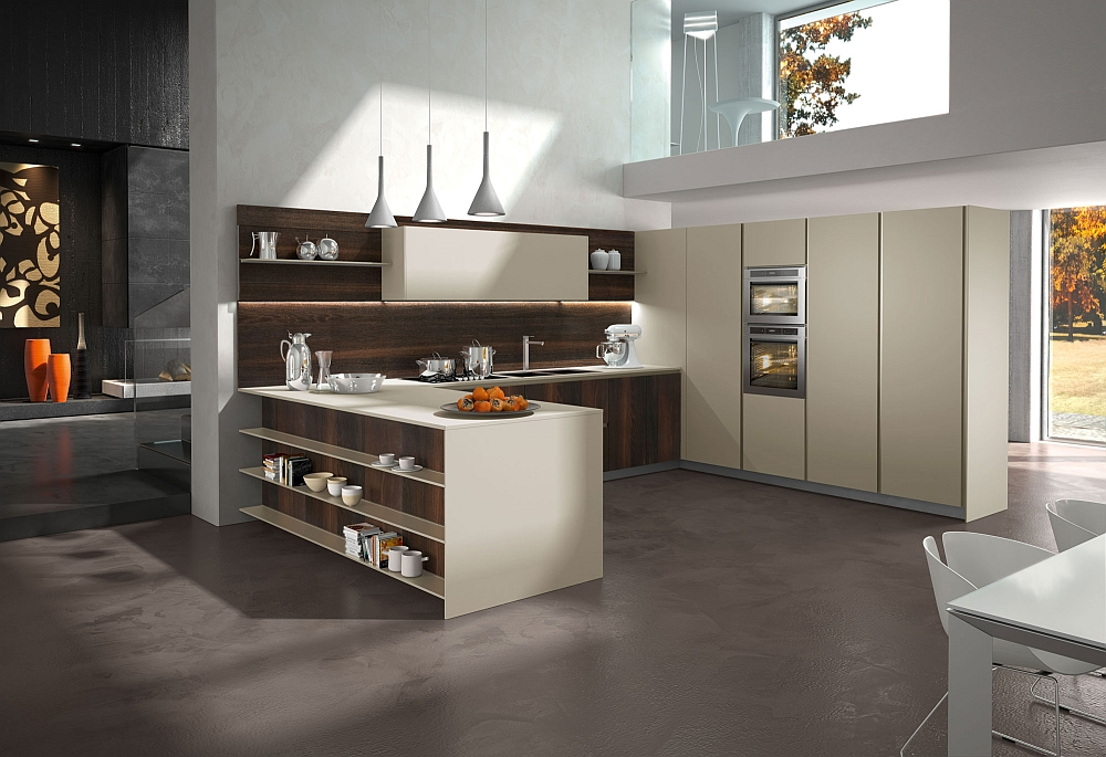 Wonderful use of neutral hues in the trendy kitchen