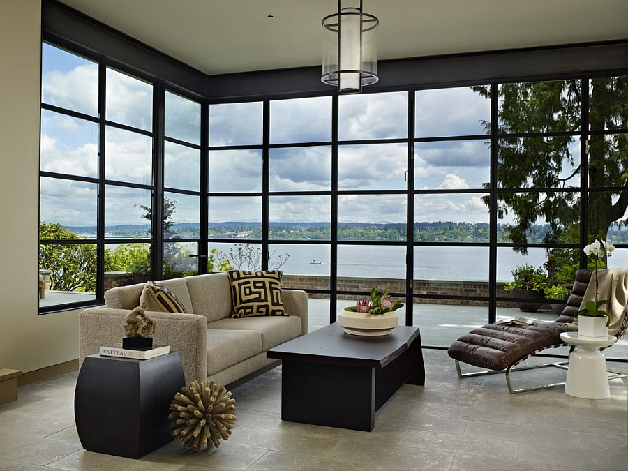 Wonderful view of lake Washington from the living area