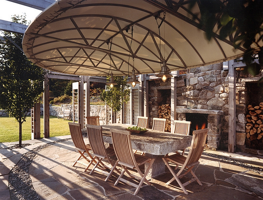 Wonderful way to provide shade for the dining space outdoors [Design: Samuel H. Williamson Associates]