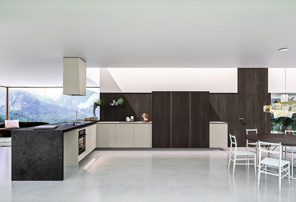 Wooden wall units add a touch of classic elegance to the kitchen