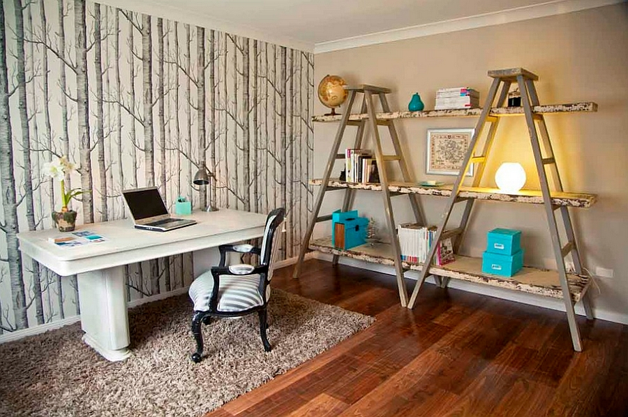 Woodsy wallpaper is a great addition to the home office [Design: Matilda Rose Interiors]