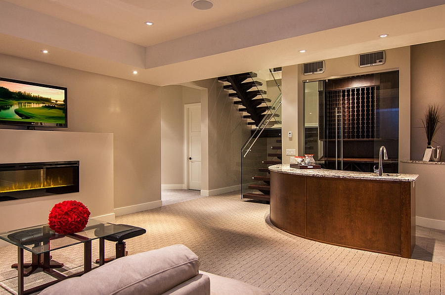 Wool carpet adds an additional texture to the fabulous basement [Design: Bellano Tile Company]
