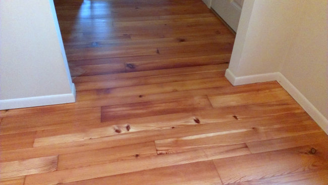 Yellow Pine floor finished with zero-VOC oil from Natural Interiors