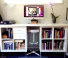 Beautiful diy desk with bookshelves and stool nook