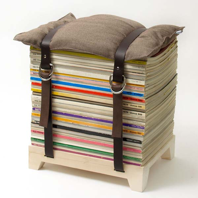 Innovative chair made out of Magazines