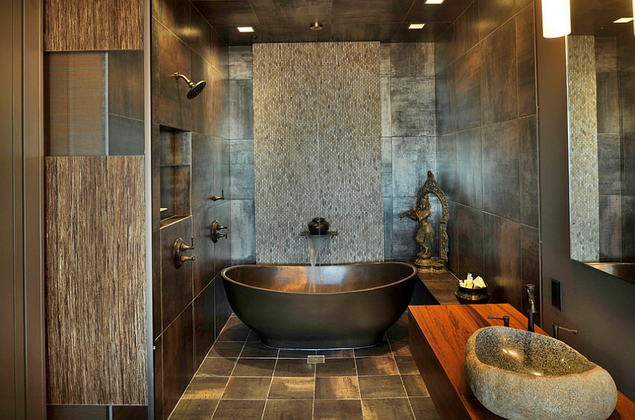 A blend of contrasting textures in the modern bathroom [Design: Amelie de Gaulle Interiors]
