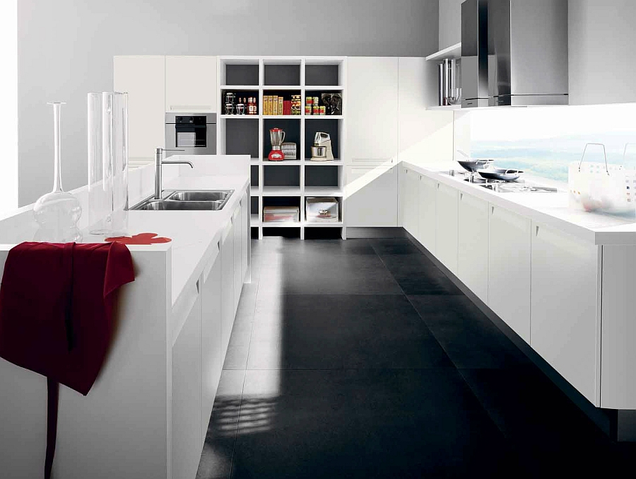 A hint of gray for the all-white kitchen
