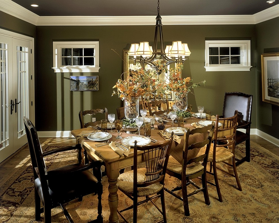 Green Walls Provide A Beautiful Backdrop For The Eclectic Dining Room