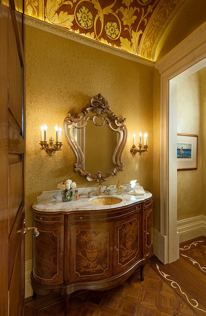 A splash of yellow for the Mediterranean powder room [Design: Giffin & Crane General Contractors]