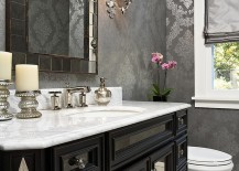 A touch of silver for the chic powder room