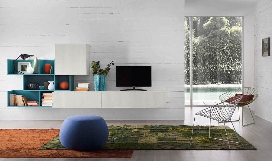 Adaptable living room wall units with bookcases and entertainment consoles