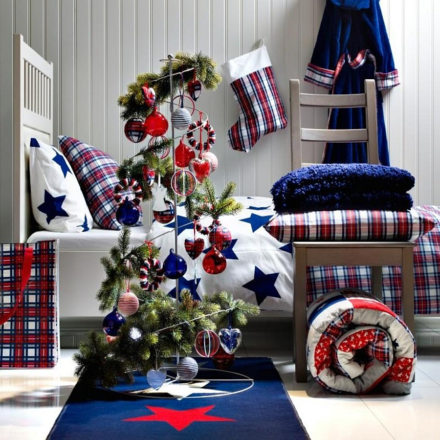 View in gallery Add a touch of color and modern flair to the bedroom  From   Panda s House. 10 Christmas Bedroom Decorating Ideas  Inspirations