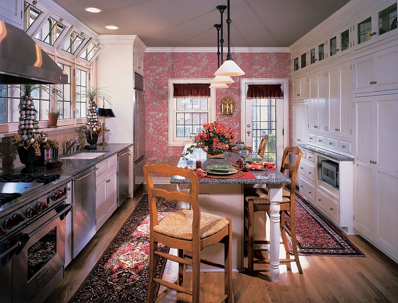 Add a touch of flashy pink to the kitchen with wallpaper [Design: Kleppinger Design]