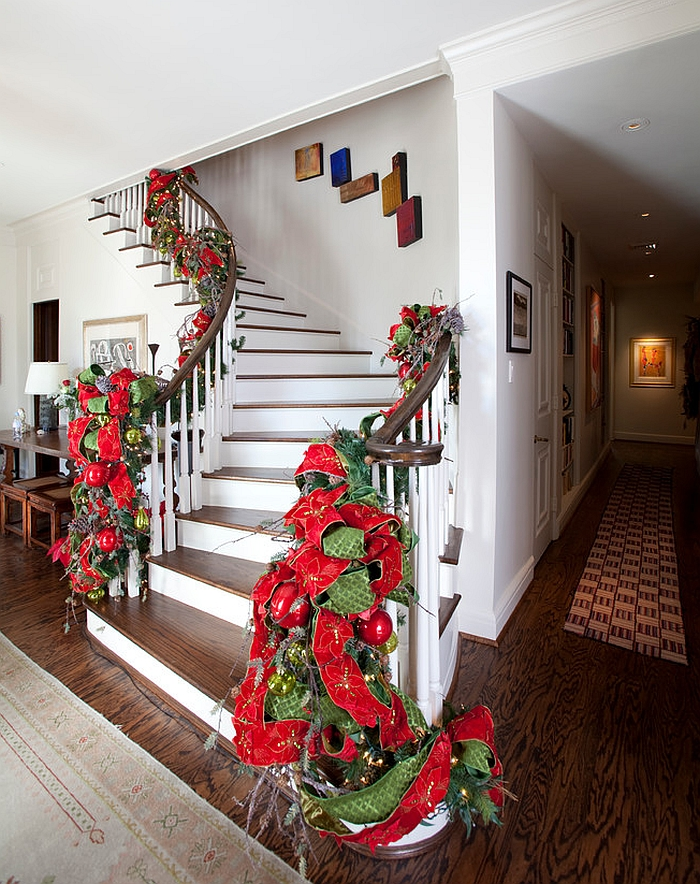 Add a touch of red and green to the stairs [Design: Regina Gust Designs]