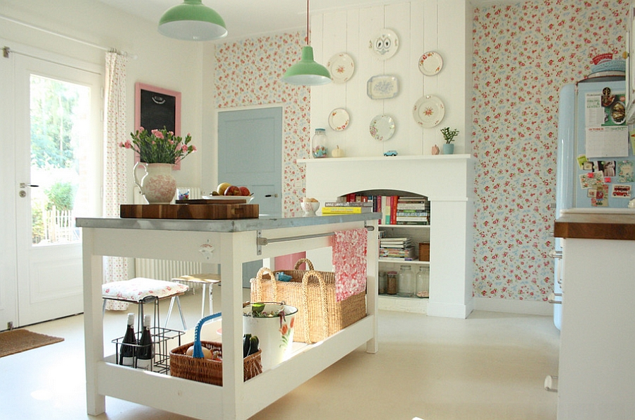 Add fun pattern to your kitchen with the wallpaper [From: Holly Marder]