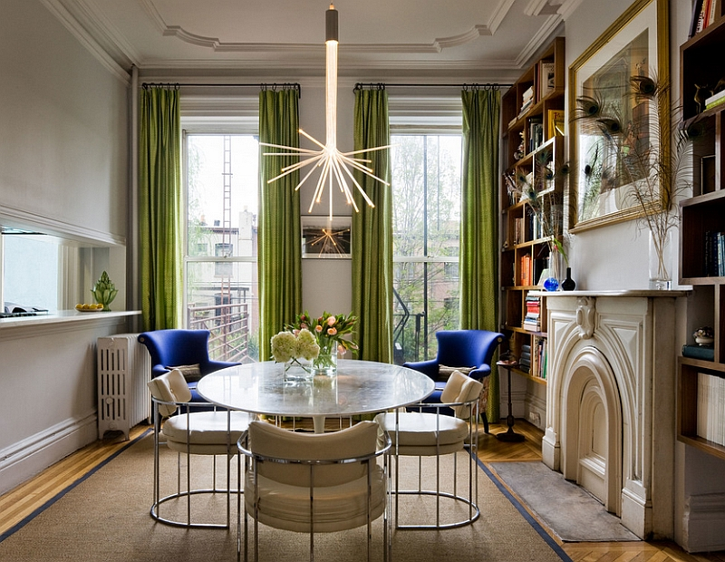 Add green to the dining room with some delicate drapes! [Design: Fawn Galli Interiors / Francis Dzikowski Photography]