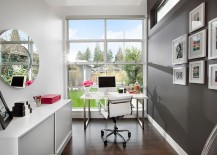 Add some charcoal gray to elevate the aesthetics of the small home office