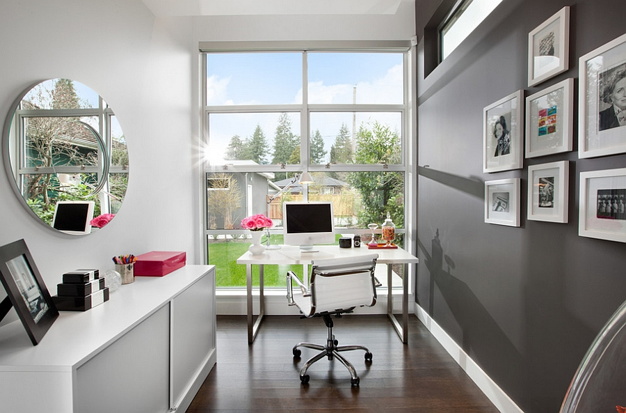 Add some charcoal gray to elevate the aesthetics of the small home office [Design: Meister Construction]