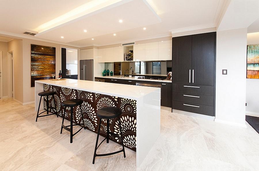 Bold wallpaper pattern enlivens the kitchen island! [Design: Eclipse Homes]