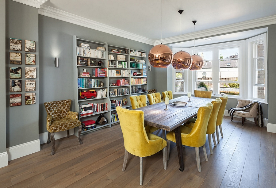 An easy way to add yellow to the dining room [Design: Riach Architects]
